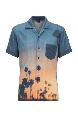 Photographic-print regular-fit shirt in a cotton blend, Black
