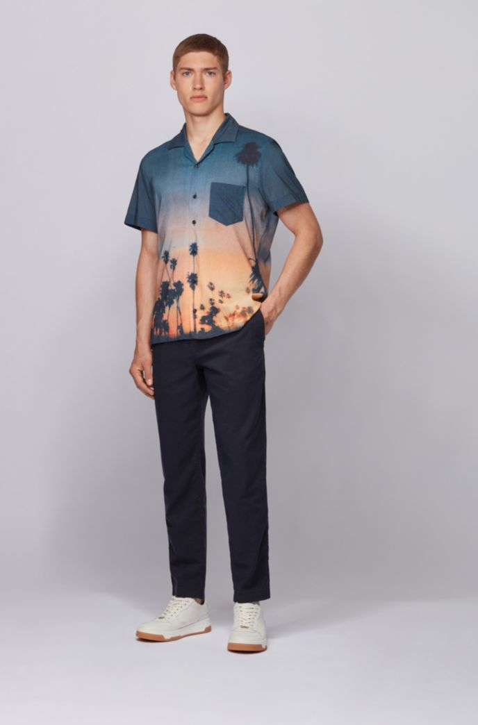 Photographic-print regular-fit shirt in a cotton blend