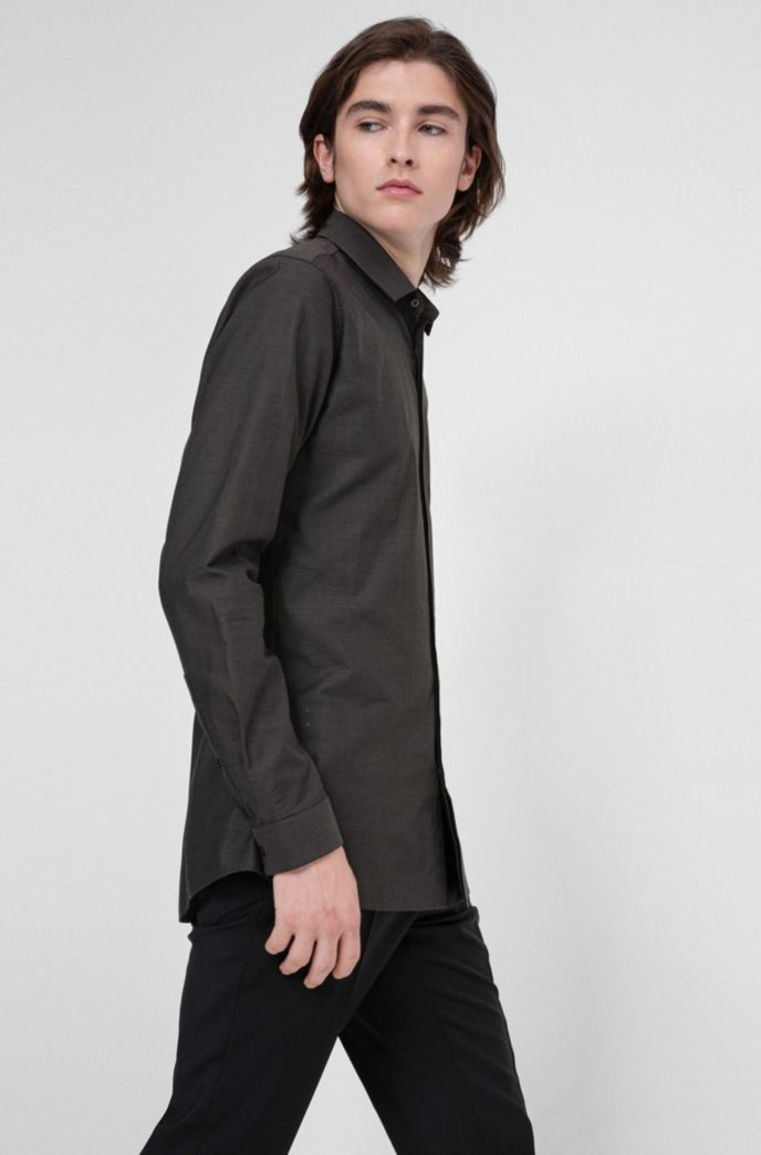 Extra-slim-fit evening shirt in structured canvas
