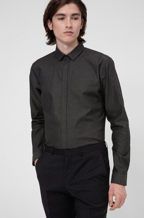 Extra-slim-fit evening shirt in structured canvas, Black