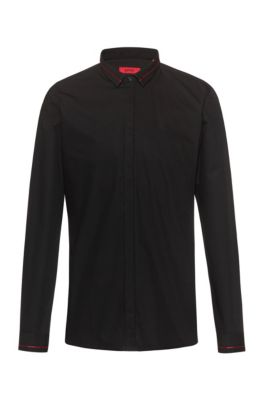 Extra-slim-fit cotton shirt with contrast stripe details, Black