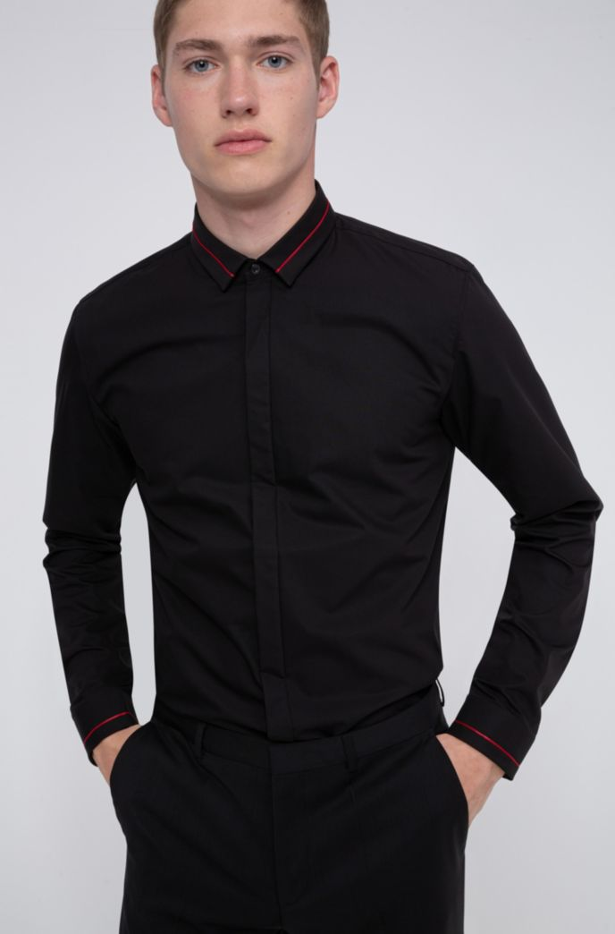 Extra-slim-fit cotton shirt with contrast stripe details