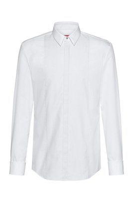 Slim-fit shirt with structured bib and double cuffs, White
