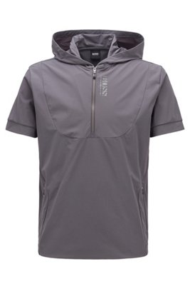 Short-sleeved hooded sweatshirt with perforated panels, Dark Grey
