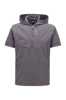 Short-sleeved hooded sweatshirt with perforated panels, Dark Grey