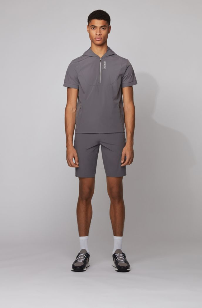 Short-sleeved hooded sweatshirt with perforated panels