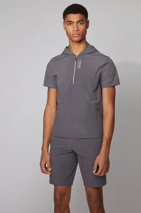 Short-sleeved hooded sweatshirt with perforated panels, Charcoal