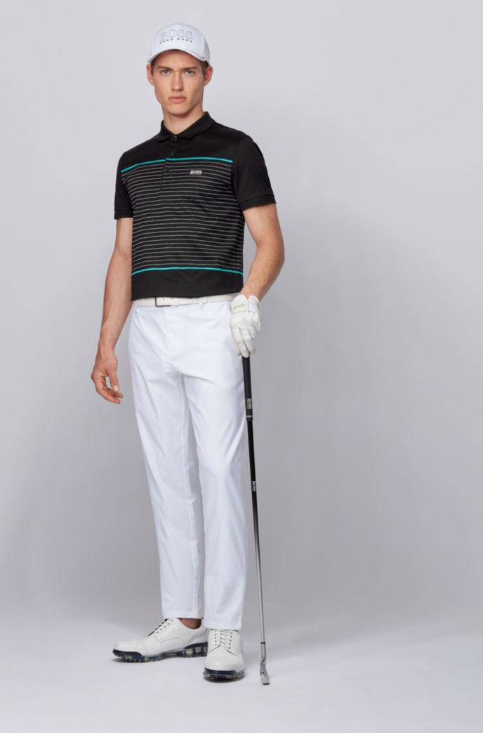 Slim-fit polo shirt in cotton with engineered stripes