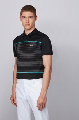 Slim-fit polo shirt in cotton with engineered stripes, Black