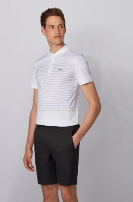 Slim-fit polo shirt in cotton with engineered stripes, White