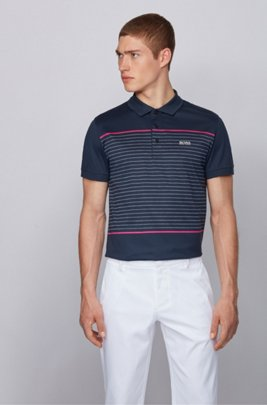 Slim-fit polo shirt in cotton with engineered stripes, Dark Blue