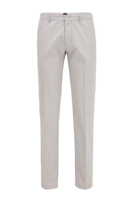 Regular-fit chinos in a stretch-cotton blend, Light Grey