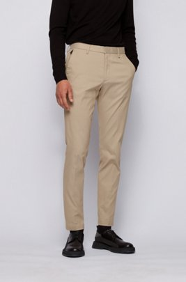 Slim-fit chinos in a stretch-cotton blend, Light Beige