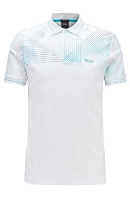 Slim-fit polo shirt with gradient-print graphic, White