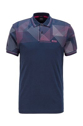 Slim-fit polo shirt with gradient-print graphic, Dark Blue