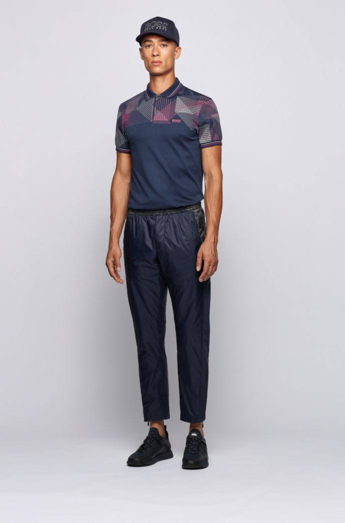 Slim-fit polo shirt with gradient-print graphic