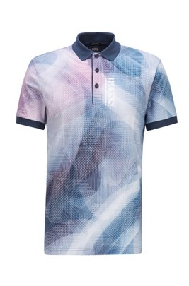Pure-cotton polo shirt with gradient digital print, Dark Blue