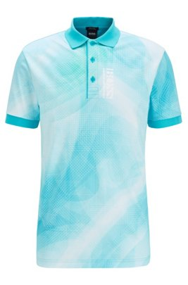 Pure-cotton polo shirt with gradient digital print, Light Blue