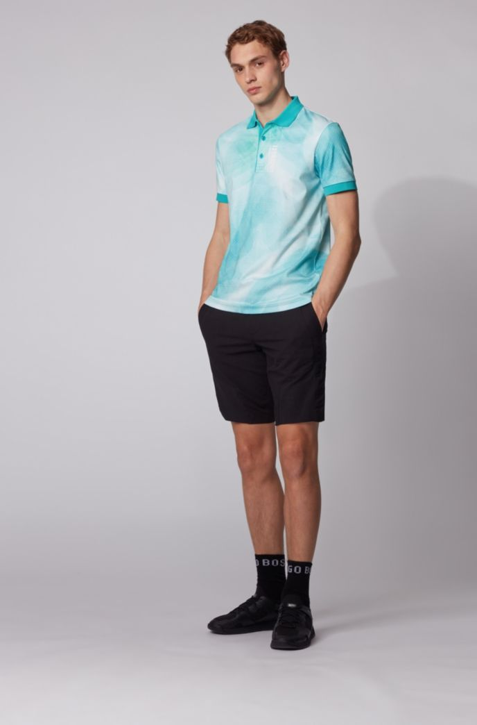 Pure-cotton polo shirt with gradient digital print