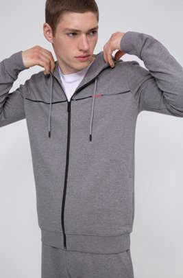Hooded sweatshirt in French terry with new-season logo, Light Grey