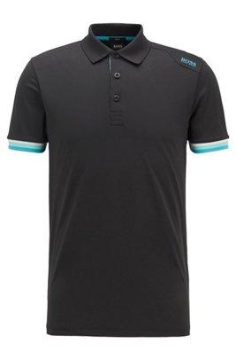 Slim-fit polo shirt in S.Café® with shoulder logo, Black