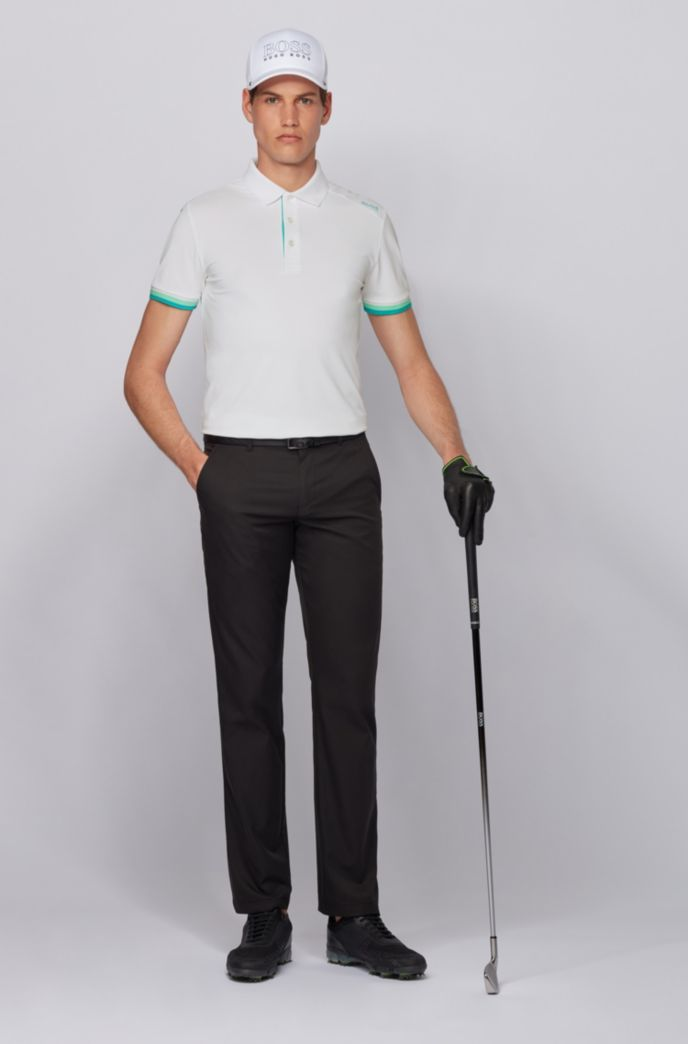 Slim-fit polo shirt in S.Café® with shoulder logo