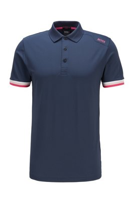 Slim-fit polo shirt in S.Café® with shoulder logo, Dark Blue