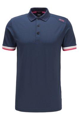 Slim-fit polo shirt in S.Café® with shoulder logo, Dark Blue