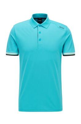 Slim-fit polo shirt in S.Café® with shoulder logo, Light Blue