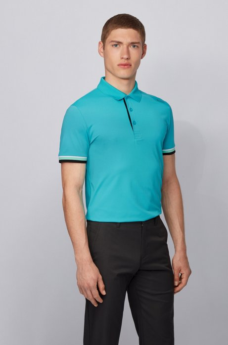 Slim-fit polo shirt in S.Café® with shoulder logo, Open Blue