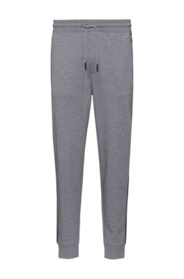 Cotton-terry jogging pants with contrast stripe and logo, Light Grey