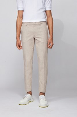 Slim-fit chinos in two-tone stretch fabric, Beige