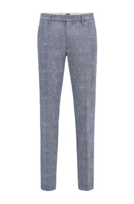 Slim-fit chinos in two-tone stretch fabric, Dark Blue