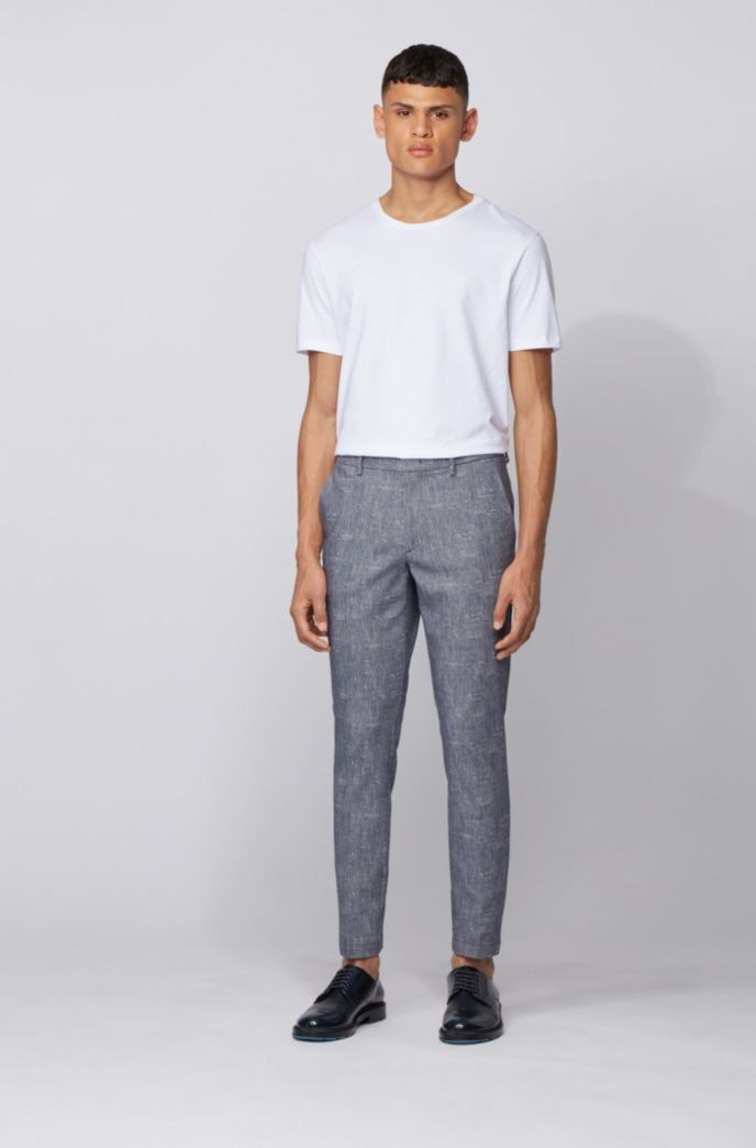 Slim-fit chinos in two-tone stretch fabric
