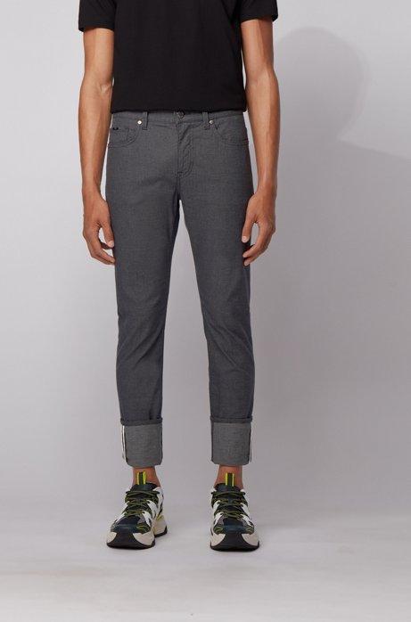 Slim-fit jeans in three-tone stretch denim, Black