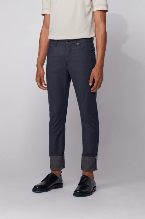 Slim-fit jeans in three-tone stretch denim, Dark Blue