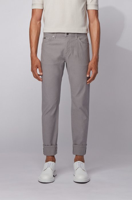 Regular-fit jeans in structured stretch denim, Open Grey