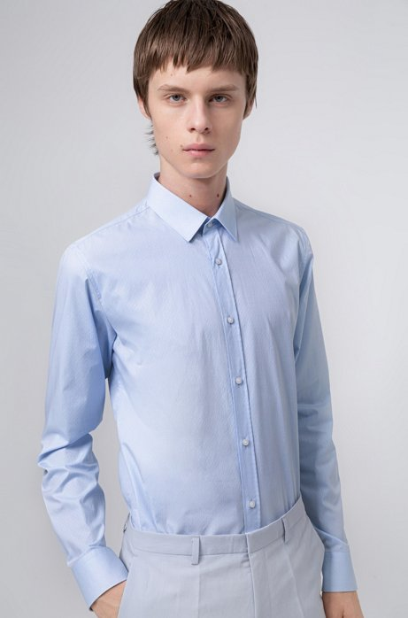 Extra-slim-fit shirt with fil-á-fil structure, Light Blue