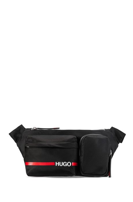 Logo-print belt bag in nylon gabardine, Black
