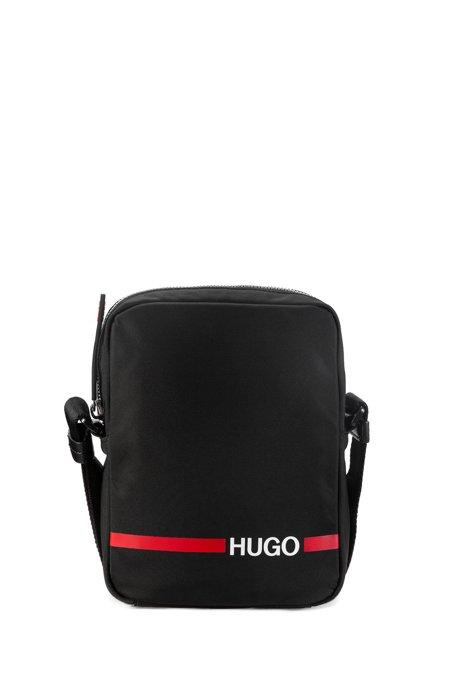 Reporter bag in nylon gabardine with contrast logo stripe, Black