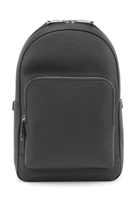 Single-strap backpack in grained Italian leather, Black