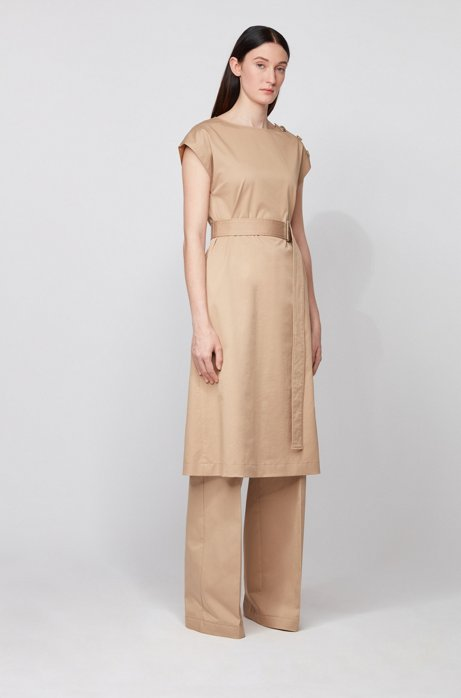 Midi-length dress in stretch cotton with button details, Beige
