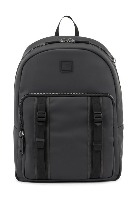 Water-resistant backpack in matte faux leather, Black