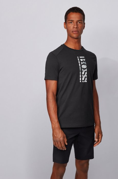 Cotton-blend T-shirt with vertical logo print, Black