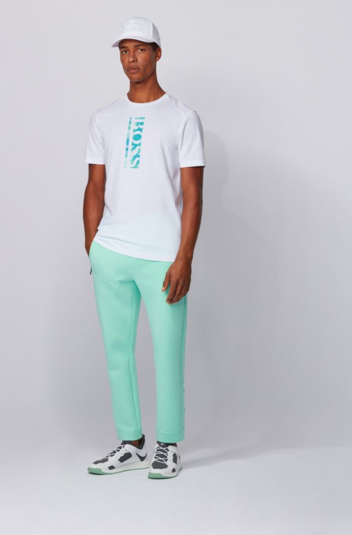 Cotton-blend T-shirt with vertical logo print