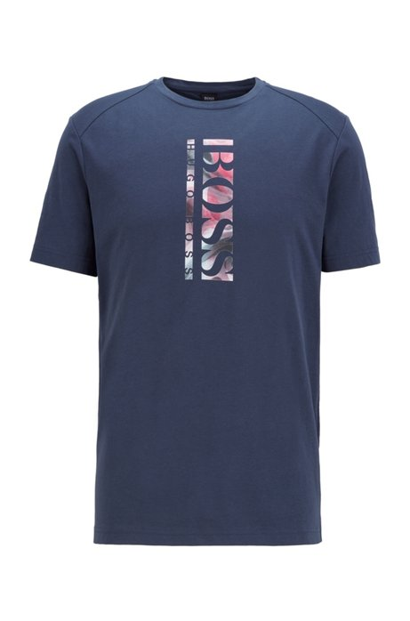Cotton-blend T-shirt with vertical logo print, Dark Blue