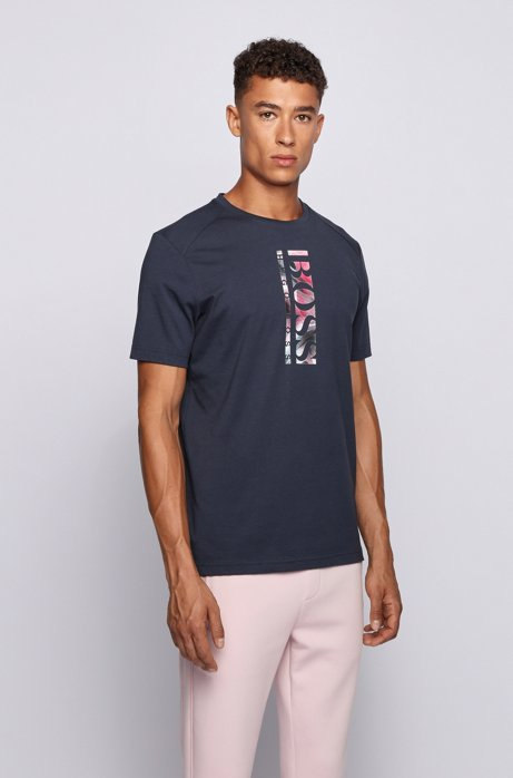 Cotton-blend T-shirt with vertical logo print, Dark Blue