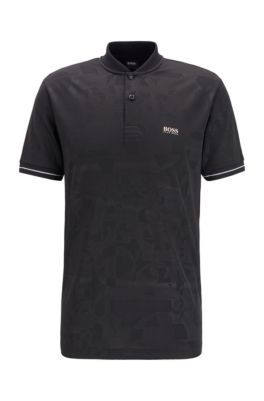 Cotton-blend polo shirt with tonal logo motif, Black