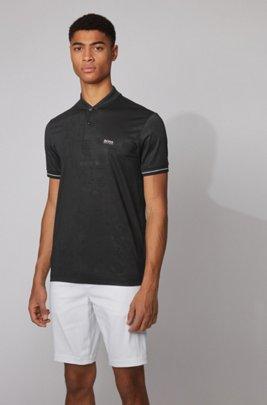 Cotton-blend polo shirt with tonal logo motif, Black