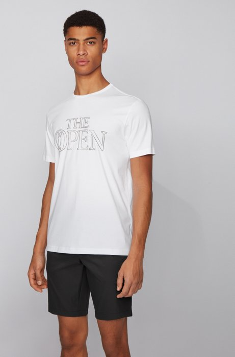 The Open exclusive stretch-cotton T-shirt with printed graphic, White